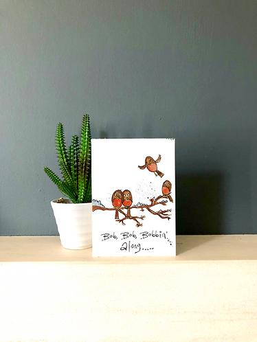Bobbin robin Christmas card