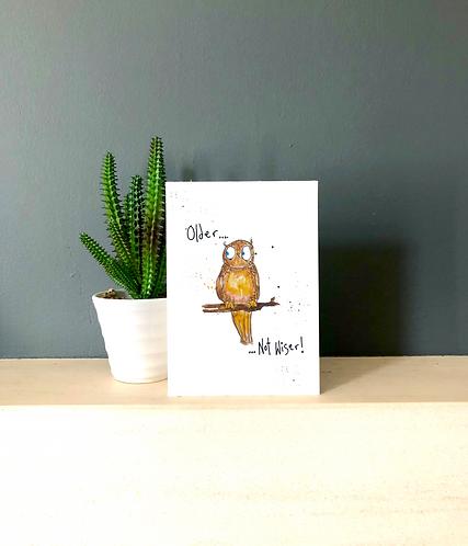 Eileen the Owl - Older not wiser card