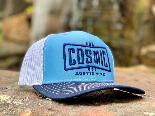COSMIC COLUMBIA BLUE/WHT/NAVY TRUCKER HAT