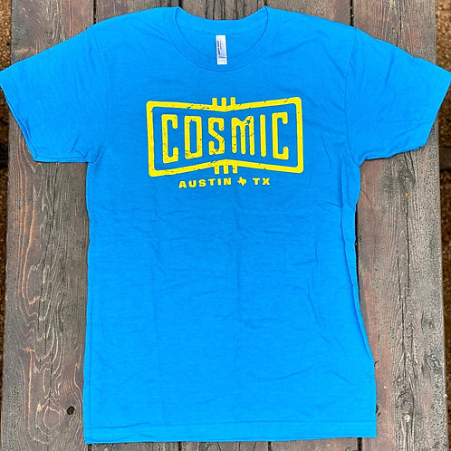 COSMIC HEATHER BLUE/YELLOW TEE