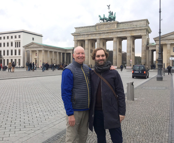 Terry Laughlin and James Harding in front of Brandenburg Gate, Berlin, November 2016