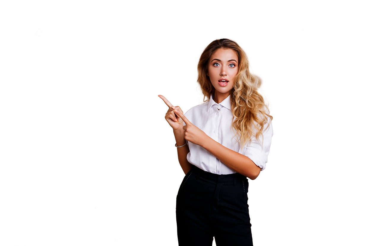 blond-business-woman-pointing-up-looking