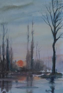 Coucher de soleil au marais