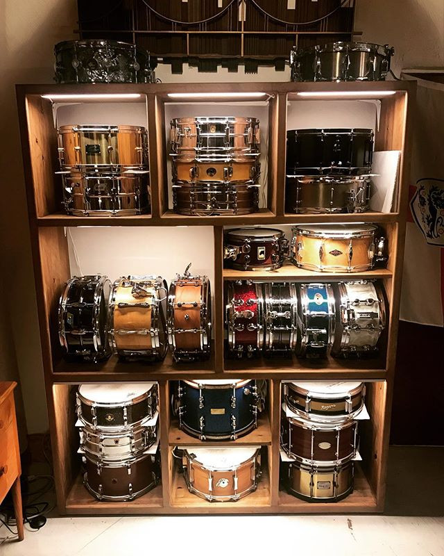 The wall of snare drums in the studio gives a huge range of options..