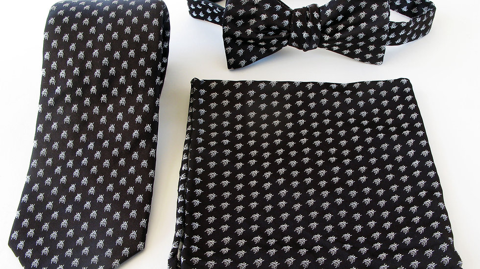 Polka Dot Beetle Tie, Pocket Scarf and Bow Tie - Black with White Pack