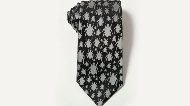 Beetle Tie - BLACK and Silver