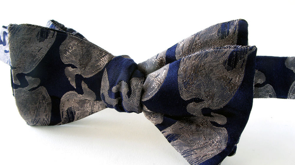 Dead Bird Bow Tie - Blue and Silver