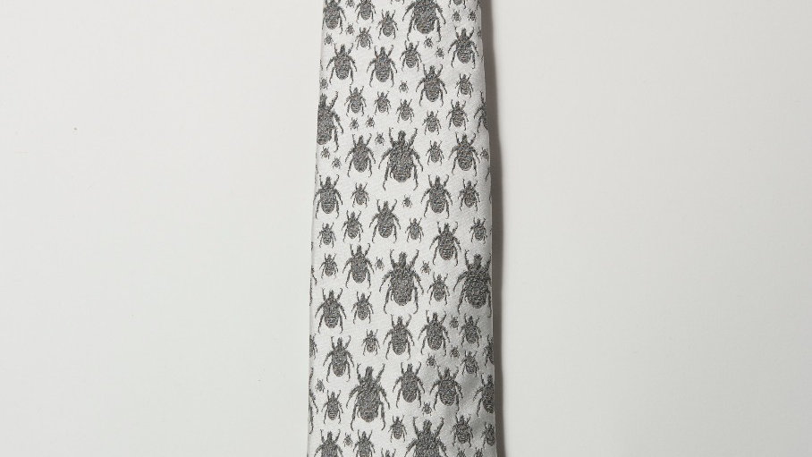 Beetle Tie - WHITE and Silver