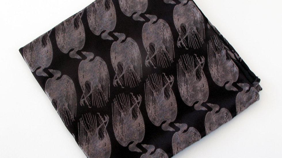 Dead Bird Pocket Square - Black with Silver