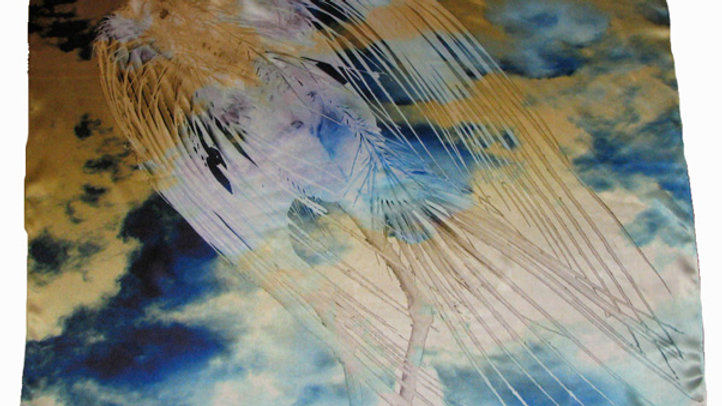 Dead Bird Silk Scarf with Essex Sky in Negative