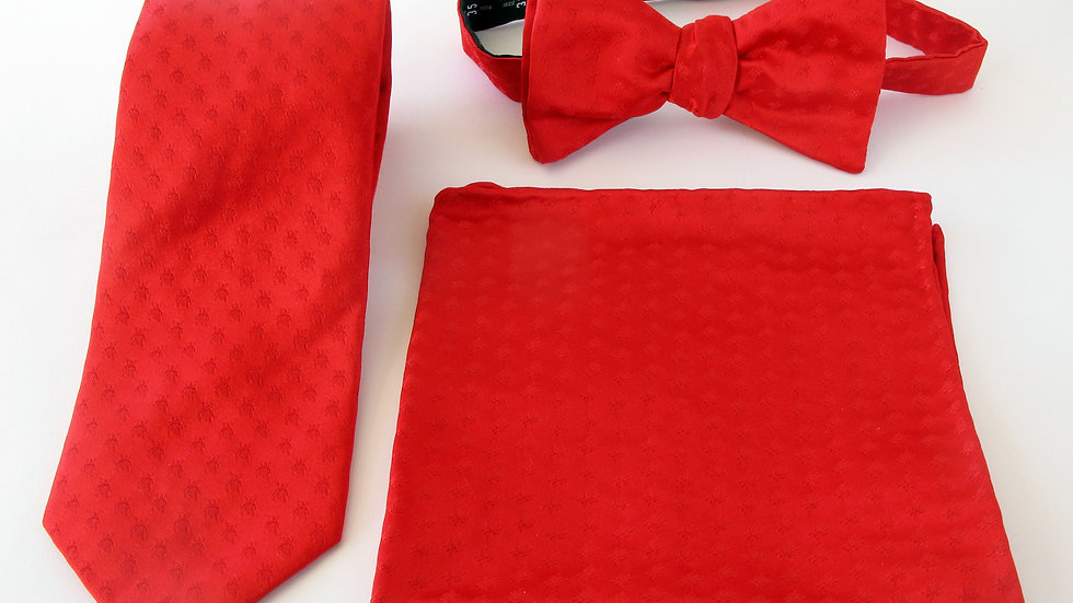 Polka Dot Beetle Tie, Pocket Scarf and Bow Tie - Red with Red Pack
