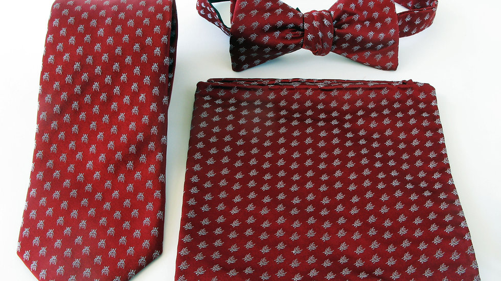 Polka Dot Beetle Tie, Pocket Scarf and Bow Tie - Burgundy with White Pack