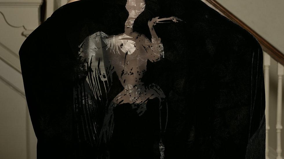 Dead Bird Devore Shawl with fringing