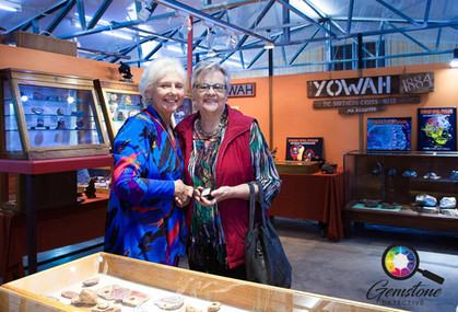 Suzanne White with a friend in Yowah, Au