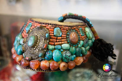 Antique turquoise, coral and amber hat,