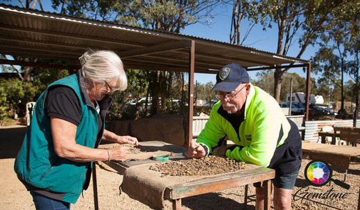A retired couple Fossicking in Rubyvale,