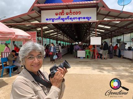 Kim Rix at the gem market in Mogok, Myan