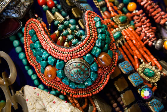 Antique turquoise, amber and coral objec