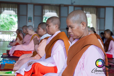 Female monks in pink robes, Mandalay, My