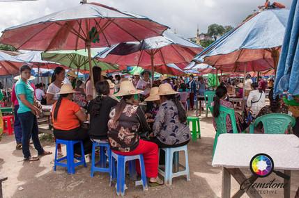 Gemstone Umbrella Market in Mogok, Myanm