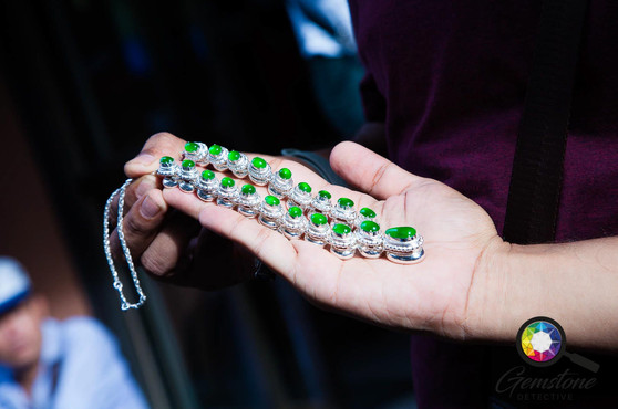 Jade necklace at the market in Mandalay,