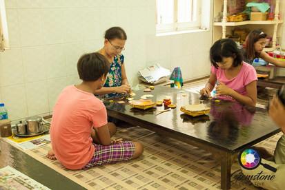 Gold leaf workshop in Mandalay, Myanmar.