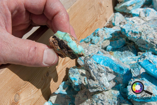 Natural turquoise at the Kingman Mine in