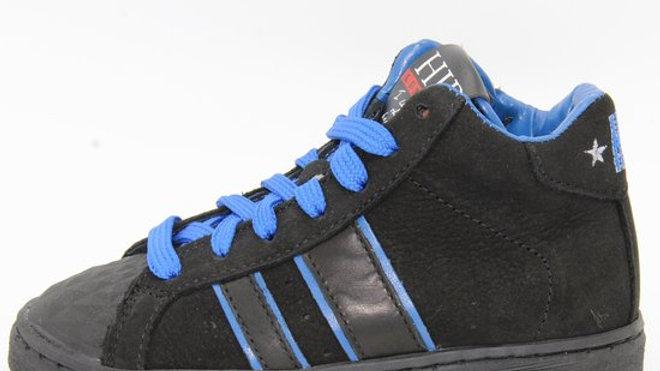 Hoge blauw-zwart sneaker met veters en rits