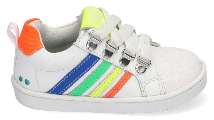 Witte vetersneakers met ingewerkte beschermtop en gekleurde strepen