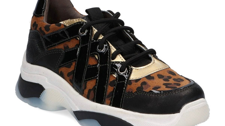 Bruin-zwarte pantersneakers met veters
