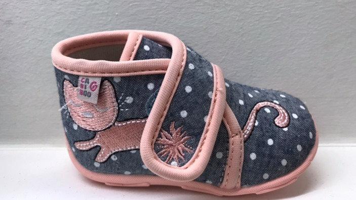 Pantoffels grijs met roze