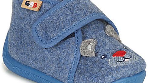 Pantoffels blauw met muisje grijze oortjes