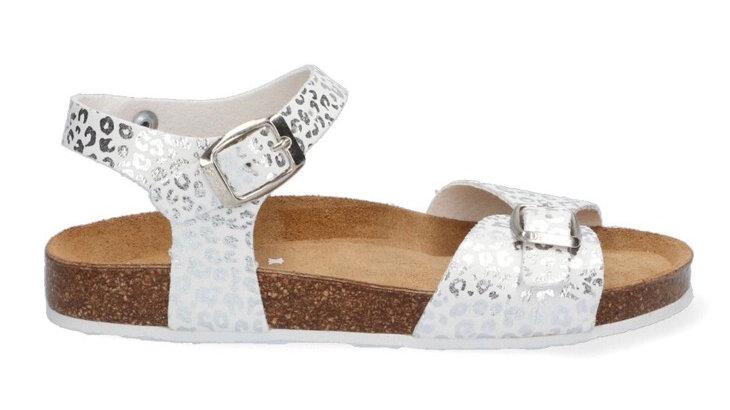 Wit-zilver sandaaltje met gespjes en dierenprint