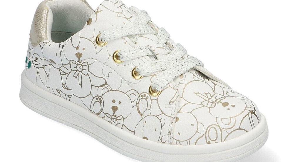 Witte vetersneaker met goudkleurige beertjes