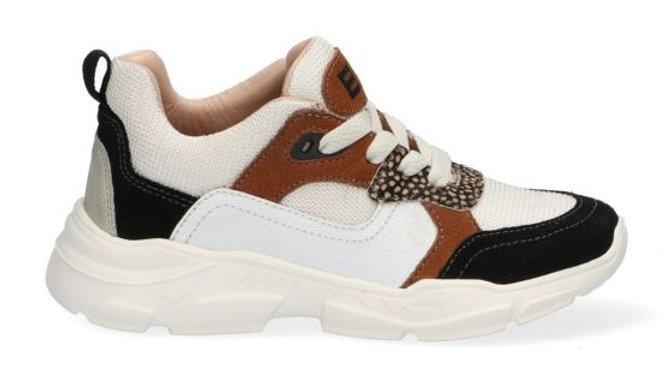 Beige vetersneaker met bruin en zwart