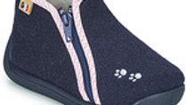 Donkerblauwe pantoffels rits met roze boordje