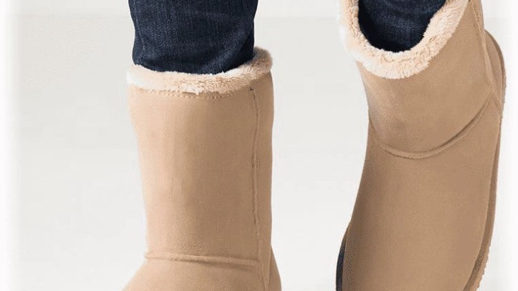beige gevoerde waterproof boots