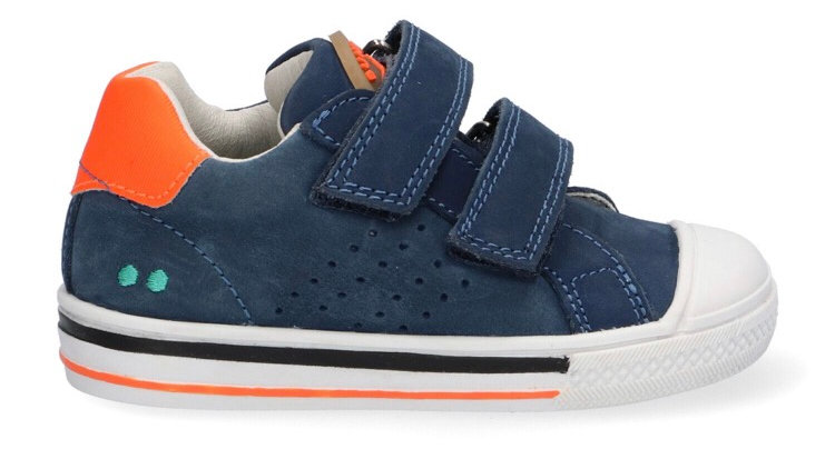 Blauwe velcroschoen met fluo-oranje accenten en beschermtop