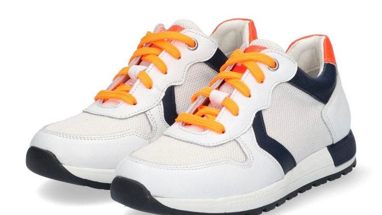 Witte vetersneakers met donkerblauw en fluo-oranje