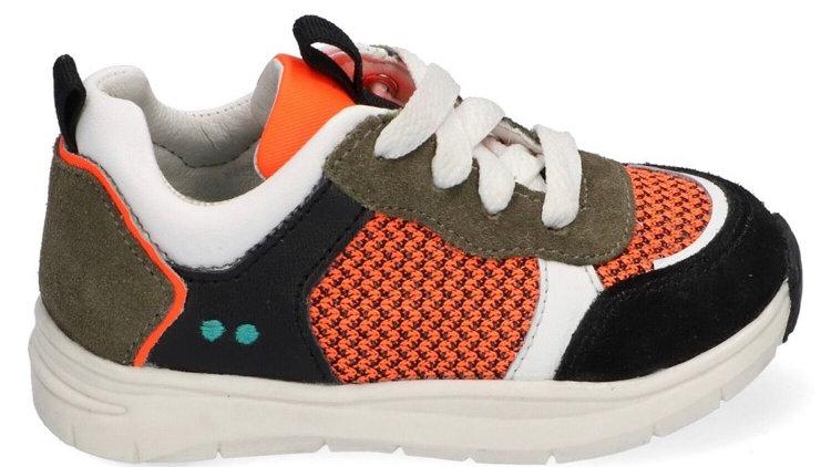 Sportief vetersneakertje oranje-zwart-wit