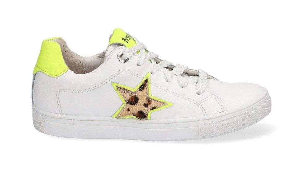 Witte vetersneakers met luipaardster en fluogeel