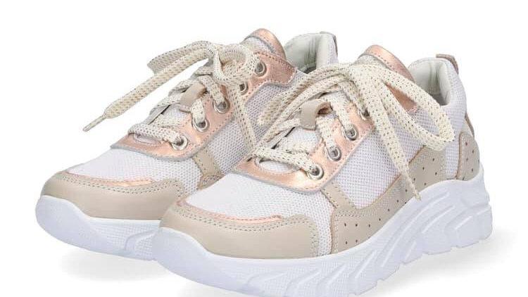 Witte sneakers met goudroze en beige