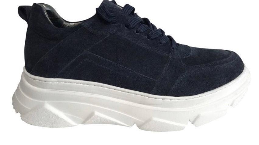 Donkerblauwe vetersneakers dikke zool