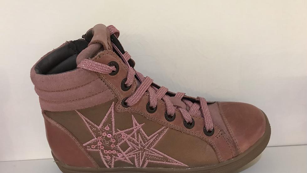 Hoog model oudroze sneakers met ster veters en rits