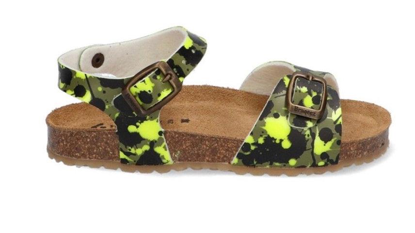 Geel-groene camouflage sandalen met gesp