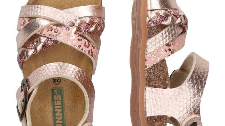 Goudroze sandaaltjes met gespje