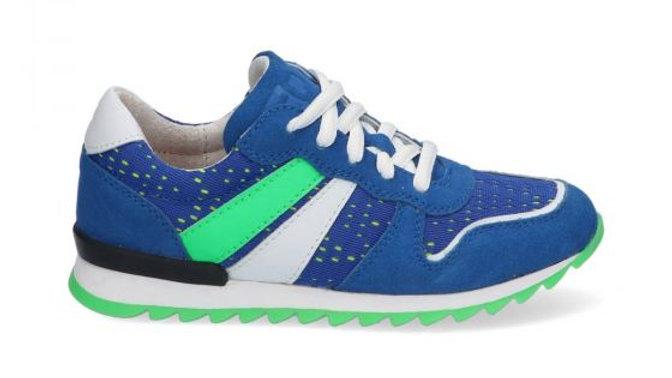 cobaltblauwe vetersneaker met fluogroen