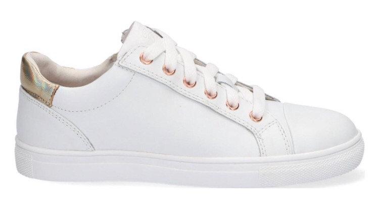 Lage witte vetersneaker met rits en goudkleurige hiel
