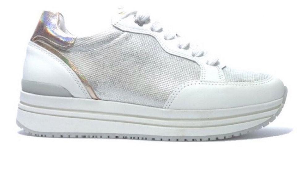 Wit-zilver vetersneakers met rits