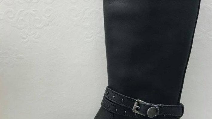 Zwarte lange laars met riempje